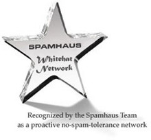 Recognized by the Spamhaus Team as a proactive no-spam-tolerance network.